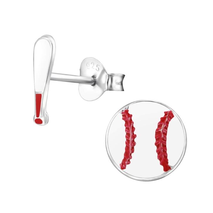 Ohrstecker 925 Sterling Silber mit Baseball und Schläger