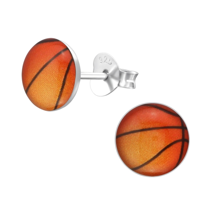 Ohrstecker 925 Sterling Silber mit Basketball