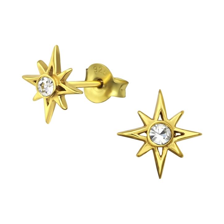Ohrstecker 925 Sterling Silber vergoldet mit Polarstern