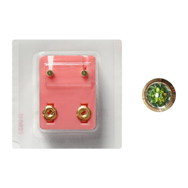 Erstohrstecker Chirurgenstahl vergoldet Sterile Ohrstecker Zarge mit Stein in grün 3mm