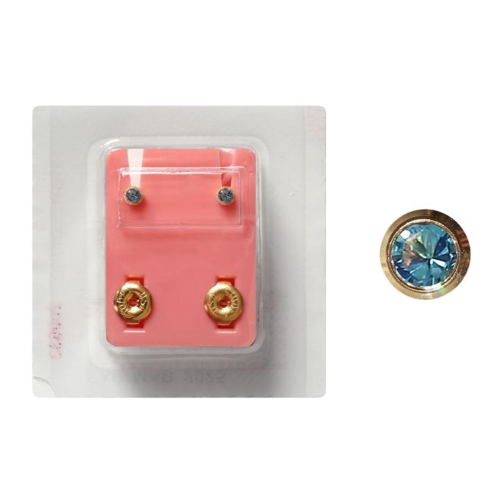 Erstohrstecker Chirurgenstahl vergoldet Sterile Ohrstecker Zarge mit Stein in hellblau 3mm