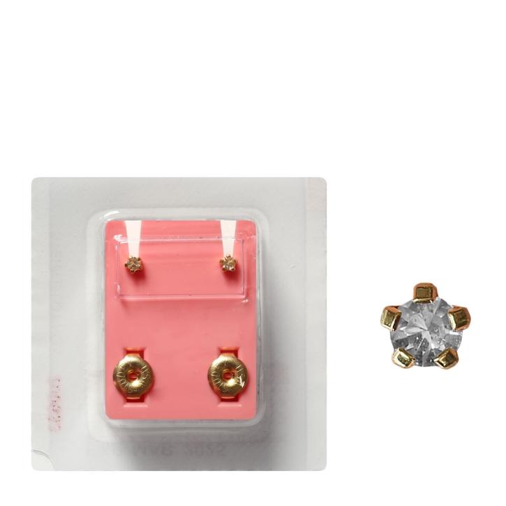Erstohrstecker vergoldet Sterile Ohrstecker synthetischer Stein transparent 3mm