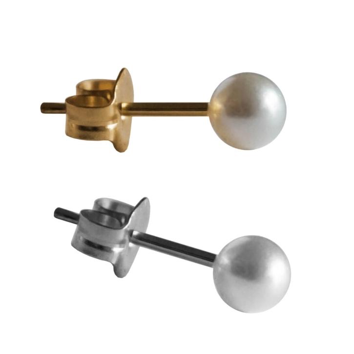 Chirurgenstahl Ohrstecker mit weißer synthetischer Perle 3-10mm Studex Sensitive