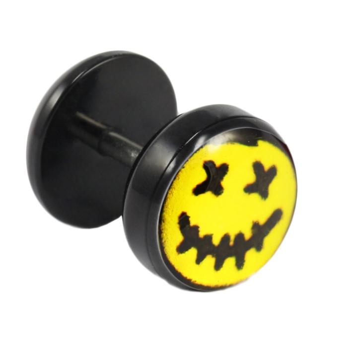 Fake Plug Ohrstecker mit Voodoo-Motiv