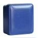 Blaue Kunststoffschachtel mit Wattefüllung
