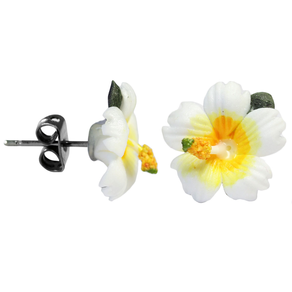 chirurgenstahl ohrstecker hibiskus wei 426wh. Black Bedroom Furniture Sets. Home Design Ideas