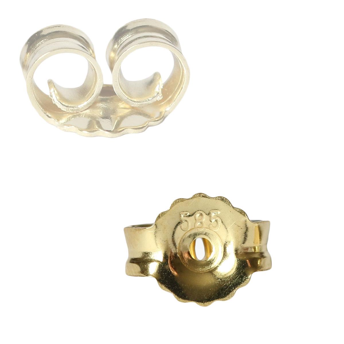 585 Gelbgold 14K Butterfly Verschluss 7mm Gold Ohrstecker Loch 0,9mm