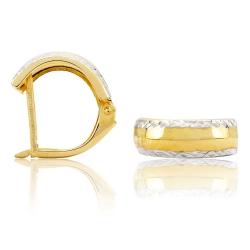 333er Gelbgold Klappcreolen Ohrringe diamantiert 14mm