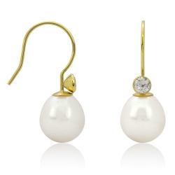 Ohrhaken Ohrringe 333 Gelbgold Ohrhänger mit Süßwasserzuchtperle und Zirkonia