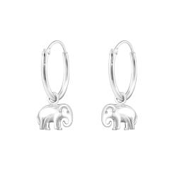 Creolen Ohrringe 925 Sterling Silber mit Elefant
