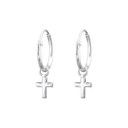 Creolen Ohrringe 925 Sterling Silber mit Kreuz