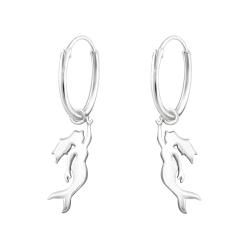 Creolen Ohrringe 925 Sterling Silber mit Meerjungfrau