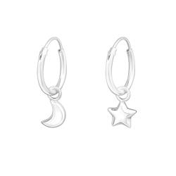 Creolen Ohrringe 925 Sterling Silber mit Mond und Stern