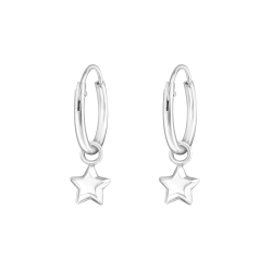 Creolen Ohrringe 925 Sterling Silber mit Stern