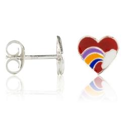 Ohrstecker 925 Sterling Silber Herz mit Regenbogen