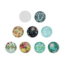 Mix 20 Glas Klebesteine 14mm Cabochon mit floralen Motiven