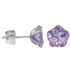 Ohrstecker aus Chirurgenstahl mit Blume in hellem lila 6mm