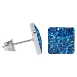 Chirurgenstahl Ohrstecker Glitterline Quadrat blau 7 mm