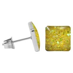 Chirurgenstahl Ohrstecker Glitterline Quadrat gelb 9 mm
