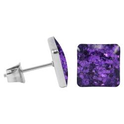 Chirurgenstahl Ohrstecker Glitterline Quadrat lila 9 mm