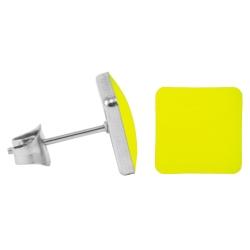Chirurgenstahl Ohrstecker Emaille Quadrat leuchtendes gelb 7 mm