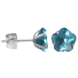 Ohrstecker aus Chirurgenstahl mit Blume in hellblau 5mm