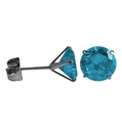 Ohrstecker Chirurgenstahl rundem Glaskristall in hellblau 6mm