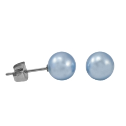 Ohrstecker mit synthetischer Perle in blau 3mm