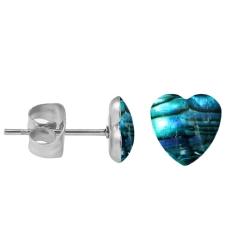Chirurgenstahl Ohrstecker Perlmutt Herz in blau