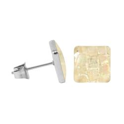 Chirurgenstahl Ohrstecker mit Mosaik Quadrat in beige 7 mm