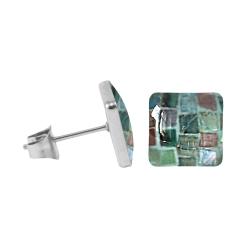 Chirurgenstahl Ohrstecker mit Mosaik Quadrat in dunkelgrün 7 mm