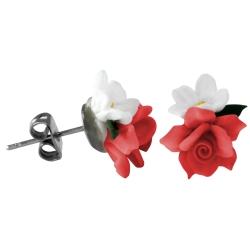 Chirurgenstahl Ohrstecker Blumenstrauß Rot