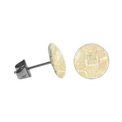 Chirurgenstahl Ohrstecker mit rundem Mosaik in beige 8 mm