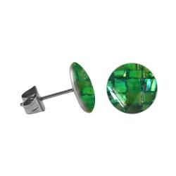 Chirurgenstahl Ohrstecker mit rundem Mosaik in grün 8 mm