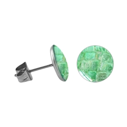 Chirurgenstahl Ohrstecker mit rundem Mosaik in hellgrün 4 mm