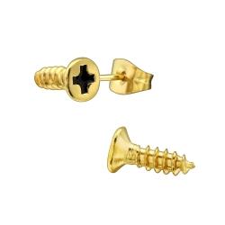 Chirurgenstahl Ohrstecker Schrauben gelbvergoldet