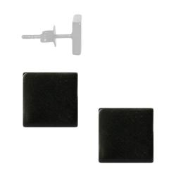 Chirurgenstahl Ohrstecker quadratisch in schwarz IPB