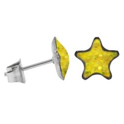 Ohrstecker Chirurgenstahl glitzernder Stern gelb