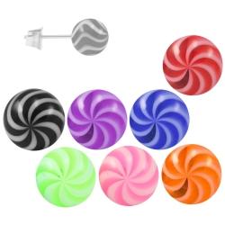 Ohrstecker Chirurgenstahl Acrylkugel Twister-Color