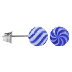 Ohrstecker Chirurgenstahl Acrylkugel Twister-Color blau 6 mm