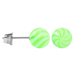 Ohrstecker Chirurgenstahl Acrylkugel Twister-Color grün 5 mm