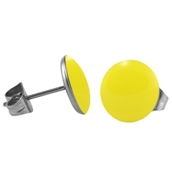 Chirurgenstahl Ohrstecker Emaille gelb 8 mm