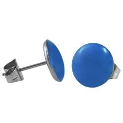 Chirurgenstahl Ohrstecker Emaille hellblau 10 mm