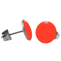 Chirurgenstahl Ohrstecker Emaille leuchtend rot 4 mm