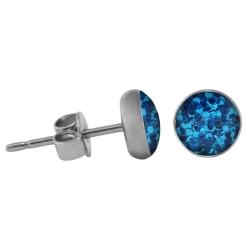 Chirurgenstahl Ohrstecker Glitterline blau 4 mm