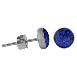 Chirurgenstahl Ohrstecker Glitterline dunkelblau 8 mm