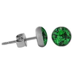 Chirurgenstahl Ohrstecker Glitterline dunkelgrün 4 mm