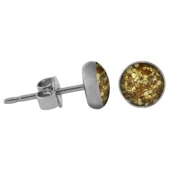 Chirurgenstahl Ohrstecker Glitterline gold 4 mm