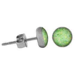 Chirurgenstahl Ohrstecker Glitterline grün 8 mm