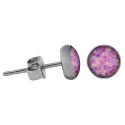 Chirurgenstahl Ohrstecker Glitterline helles pink 8 mm